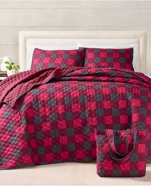 Martha Stewart Collection Buffalo Check Essential 3-Pc. Twin Quilt Bag Set, Created For Macy's