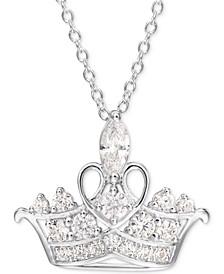 "Cubic Zirconia Princess Tiara 18"" Pendant Necklace in Sterling Silver"