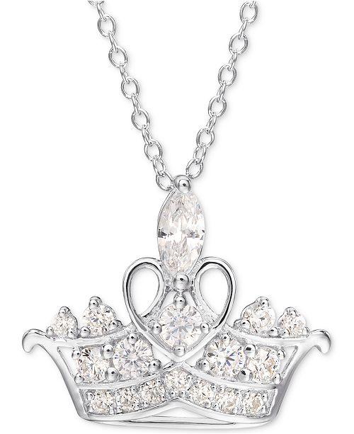"""Disney Cubic Zirconia Princess Tiara 18"""" Pendant Necklace in Sterling Silver"""