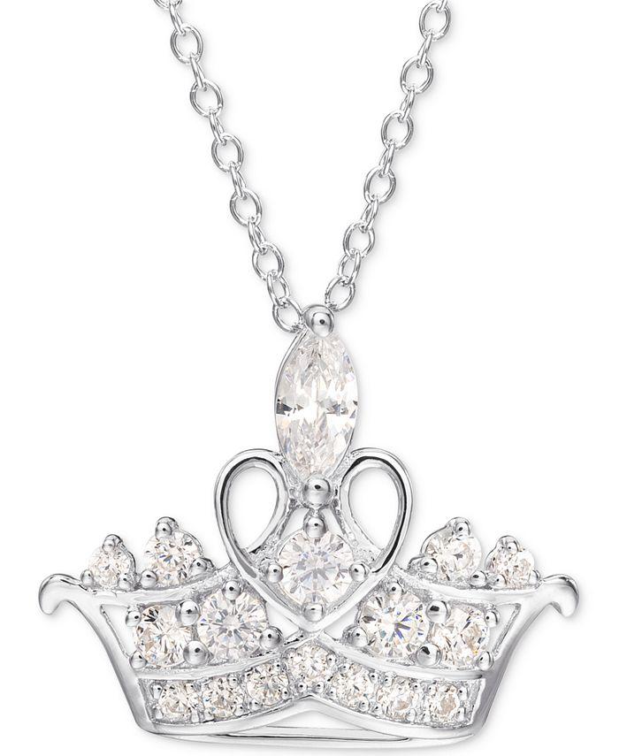 """Disney - Cubic Zirconia Princess Tiara 18"""" Pendant Necklace in Sterling Silver"""