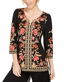 Petite Printed Toggle Neck Tunic, Created for Macy's