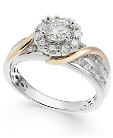 Diamond Halo Two-Tone Engagement Ring (1-1/4 ct. t.w.) in 14k White Gold & 14k Gold