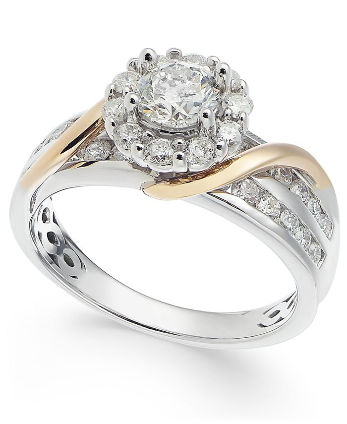 Macy's - Diamond Halo Two-Tone Engagement Ring (1-1/4 ct. t.w.) in 14k White Gold & 14k Gold