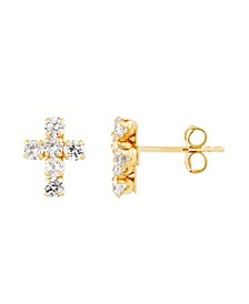 Swarovski Crystal(12 ct. t.w.) Cross Button Earrings in 14K Gold