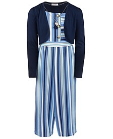 Big Girls 3-Pc. Shrug, Striped Jumpsuit & Necklace Set