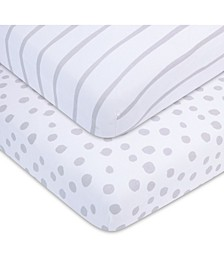 Bambini Jersey Cotton Standard Crib Sheets, 2 Pack