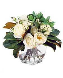 Permanent Botanicals Rose and Magnolia in Vase
