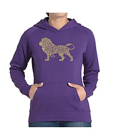 Women's Word Art Hooded Sweatshirt -Lion
