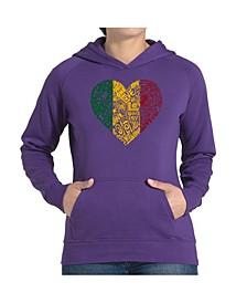 Women's Word Art Hooded Sweatshirt -One Love Heart
