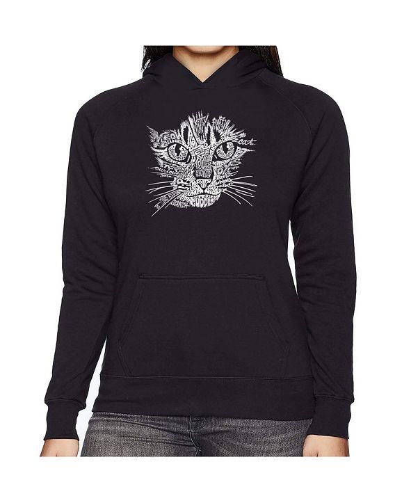 LA Pop Art Women's Word Art Hooded Sweatshirt -Cat Face