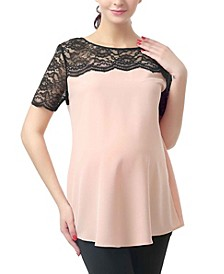 Paisley Lace Yoke Maternity Blouse