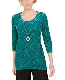 Velvet Necklace Top, Created for Macy's