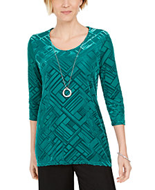 JM Collection Velvet Necklace Top, Created For Macy's