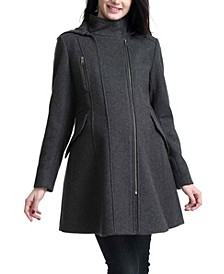 Cordella Maternity Zip Front Wool Blend Coat