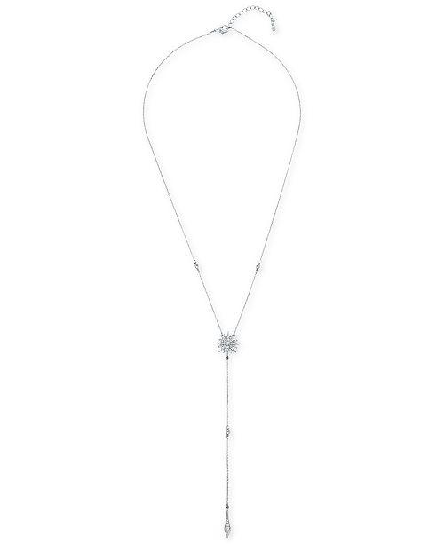 "RACHEL Rachel Roy Silver-Tone Crystal Starburst Lariat Necklace, 22"" + 2"" extender"