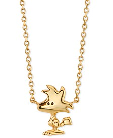 "Peanuts Woodstock Pendant Necklace in Gold-Tone Sterling Silver, 16"" + 2"" extender"