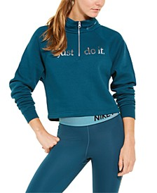Women's Sportswear Shine Metallic-Graphic Half-Zip Top