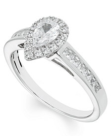 Certified Diamond (4/5 ct. t.w.) Pear Engagement Ring in 14k White Gold