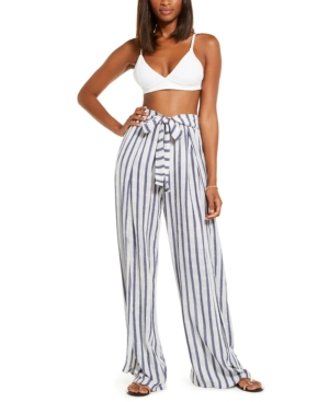 Becca STRIPED TIE-FRONT COVER-UP PANTS WOMEN'S SWIMSUIT