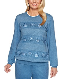 Petite All About Ease Beaded Embroidered Sweatshirt