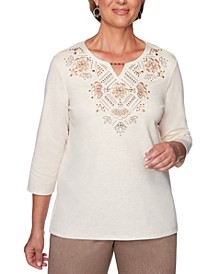 Petite First Frost Beaded Embroidered Top