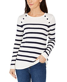 Button-Shoulder Striped Top, Created for Macy's