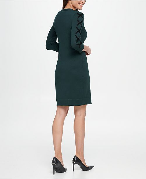 V Neck Sweater Dress Wlace Up Sleeves