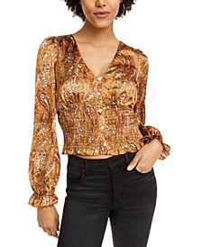 Paisley Smocked Cropped Top