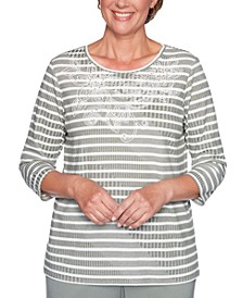Petite Loire Valley Striped Embellished Top