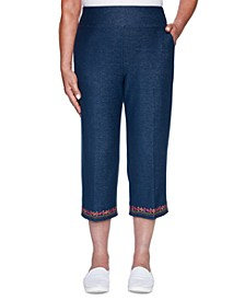 Petite Road Trip Embroidered Embellished Pull-On Pants