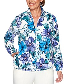 Petite Classics Floral-Print Rhinestone-Embellished Jacket