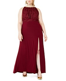 Plus Size Pleated-Bodice Gown
