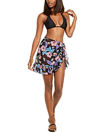 Juniors' Jossie Hills Printed Chiffon Mini Tie Waist Sarong Cover-Up, Created For Macy's
