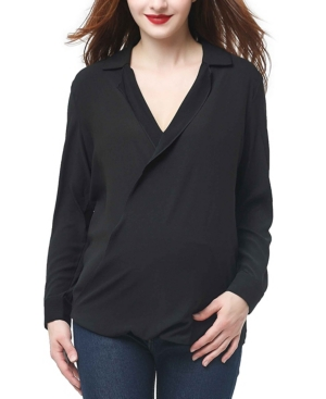 Kimi + Kai Brook Surplice Drape Front Maternity Blouse