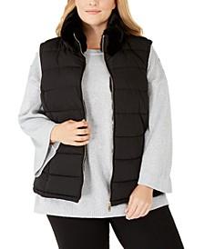 Plus Size Faux-Fur-Collar Puffer Vest
