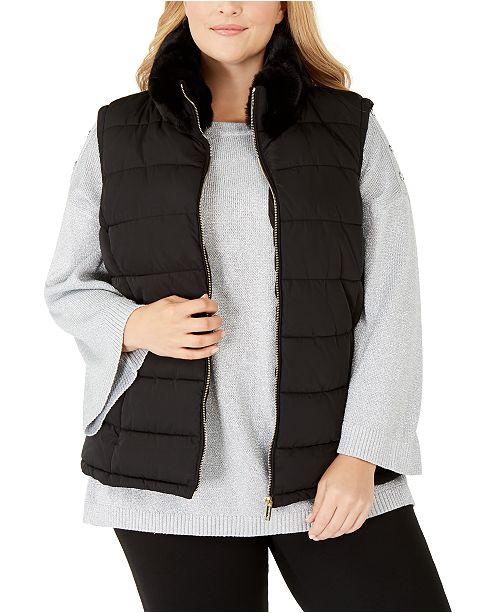 Calvin Klein Plus Size Faux-Fur-Collar Puffer Vest