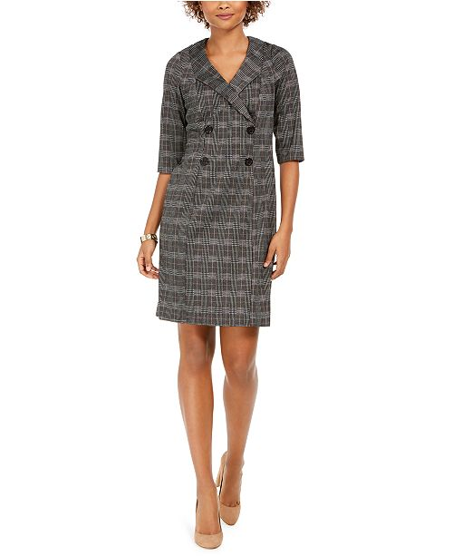 Connected Plaid Blazer Dress