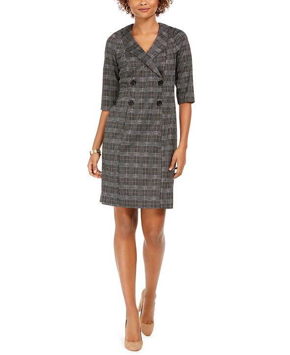 Connected Plaid Blazer Dress