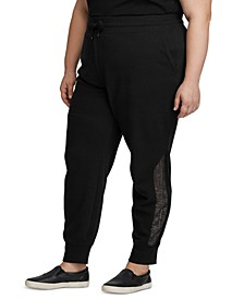Plus Size Lace-Trim Terry  Jogger Pants