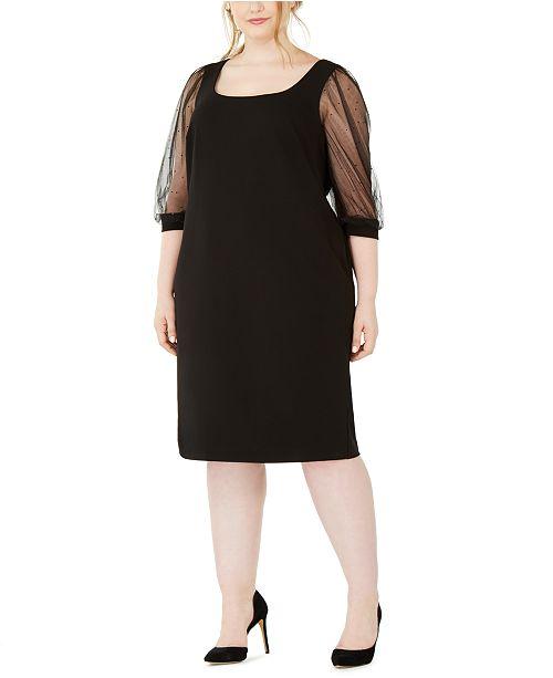 Calvin Klein Plus Size Illusion-Sleeve Dress