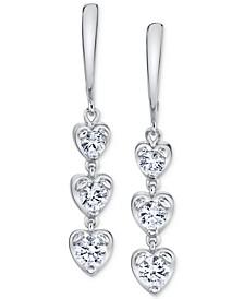 Diamond Heart Drop Earrings (7/8 ct. t.w.) in 14k White Gold