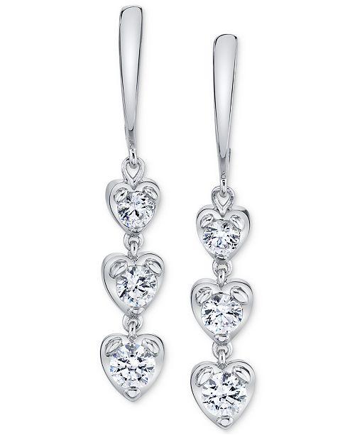 Sirena Diamond Heart Drop Earrings (7/8 ct. t.w.) in 14k White Gold