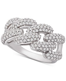 Diamond Link Detail Statement Ring (1 ct. t.w.) in Sterling Silver, Created for Macy's