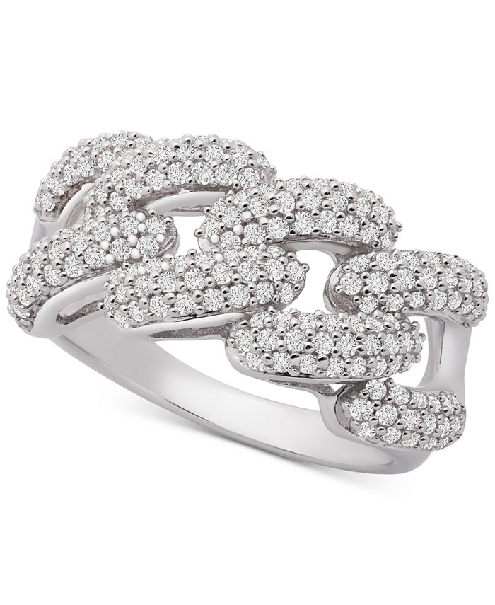 Wrapped in Love - Diamond Link Detail Statement Ring (1 ct. t.w.) in Sterling Silver