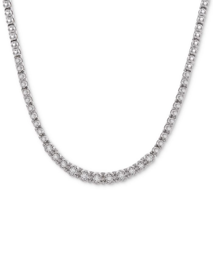 """Wrapped in Love - Diamond Link (1/2 c.t. t.w.) 17"""" Statement Necklace in Sterling Silver"""
