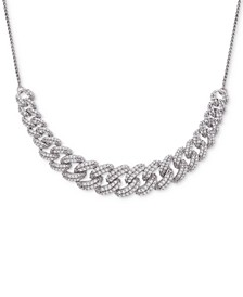 """Diamond Link Detail 18"""" Pendant Necklace (1 ct. t.w.) in Sterling Silver, Created for Macy's"""