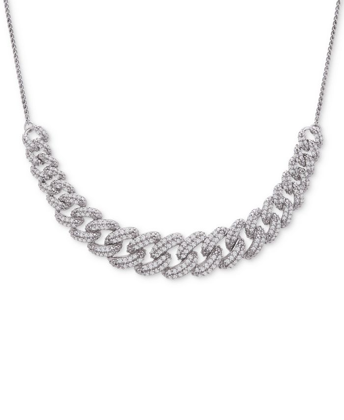 """Wrapped in Love - Diamond Link Detail 18"""" Pendant Necklace (1 ct. t.w.) in Sterling Silver"""