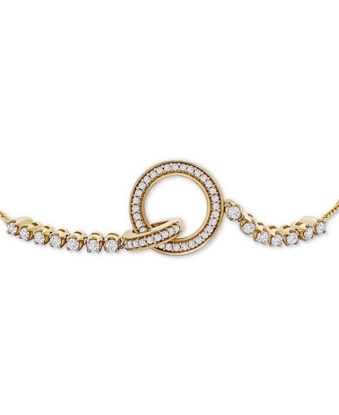 Wrapped - Diamond Interlocking Loop Bolo Bracelet (1/3 ct t.w.) in 14k Gold