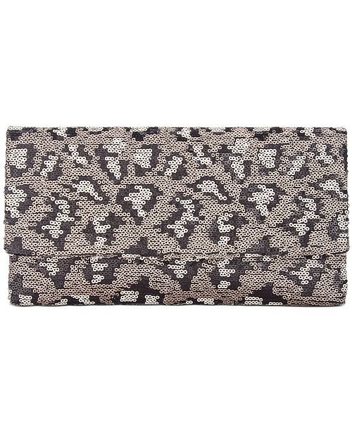 Steve Madden Jace Leopard Sequin Clutch