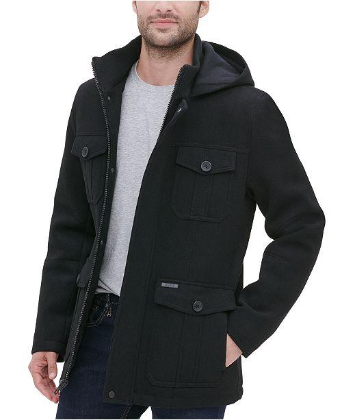 GUESS Men's Four Pocket Three-Quarter Length Coat
